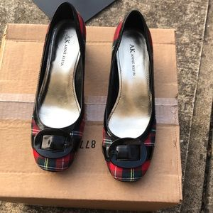 Anne Klein plaid buckle shoes